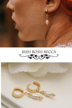 Modern sleek gold plated huggie wedding earrings with a white pearl drop Gold Pearl, Pearl White, Alternative Bride, Woodland Wedding, Boho Bride, Wedding Earrings, Modern Boho, Wedding Shoot, Becca