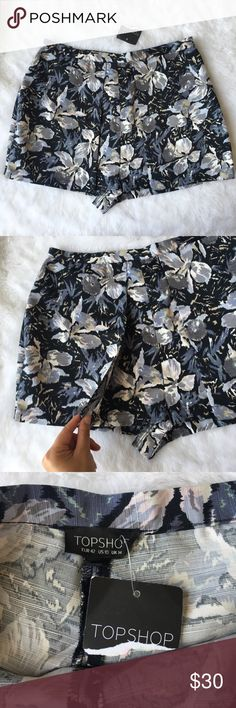 "NEW Topshop High Waist Floral Shorts 10 Topshop  Floral dressy shorts  New with tags  Size 10 Side zipper  High Waist  ""Envelope"" front flap style: it almost looks like a skirt.  Super cute with a blouse tucked in and heels! Please see photos for approximate measurements. Everything comes from a pet and smoke free home. Topshop Shorts"