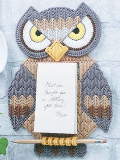 Plastic Canvas - Kitchen Patterns - Wall Hanging Patterns - Message Owl