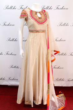 PalkhiFashion Exclusive Full Flair Beige Silk Hand Work Outfit with Attractive Duppata.