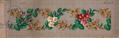 Pattern with roses, peach blossoms and vine leafs, 19th century
