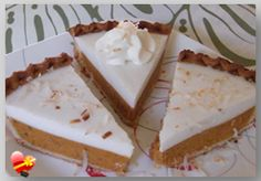 A delicious Pumpkin Haupia Pie dessert anytime of the year. Get more Hawaiian and local style recipes here. Pie Dessert, Dessert Recipes, Haupia Pie, Pumpkin Crunch Cake, Vegetarian Cake, Island Food, Pumpkin Recipes, Pumpkin Deserts, The Best