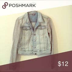 Denim jacket with sweatshirt like arms Super cute and comfy! Worn maybe twice! Jackets & Coats Jean Jackets