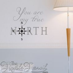 A romantic themed - nautical inspired vinyl wall decal with compass that reads You are my true north. Looks beautiful in a master suite beach or waterfront home.