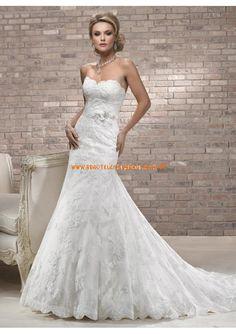 Luxuriöse Brautmode berlin kaufen aus Satin und Softnetz Meerjungfrau mit Schleppe