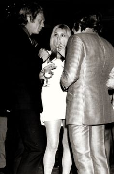 Steve McQueen, Sharon Tate, and Roman Polanski at a London party in June of 1969