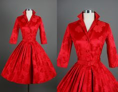 Vintage 1950s 50s Elegant Fiery Red Silk Cocktail Party Dress S. via RedHouseVintages @ Etsy