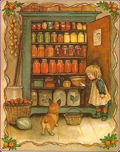 "Illustration from The Tasha Tudor Cookbook - reminds me of Aaron showing his Grama Pace the canned food cabinet at our house when he was abt 3..as he opened it w/ a wide sweep of his hand, he said ""See, fooods""... :)"