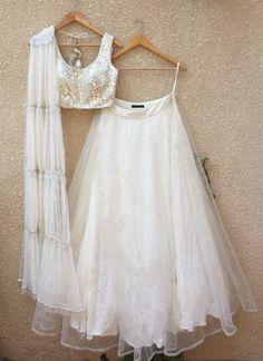 Buy White Color Lehenga by Akanksha Singh at Fresh Look Fashion Indian Gowns Dresses, Indian Fashion Dresses, Indian Designer Outfits, Designer Clothing, Blouse Lehenga, Lehnga Dress, Lehenga Choli, Lehenga Skirt, Bridal Lehenga
