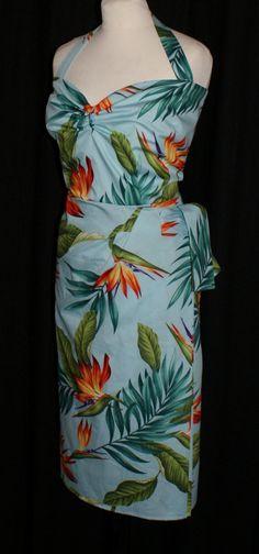 Vintage 1950s inspired blue Hawaiian halter sarong dress bird of paradise strelitzia print size XXL Rockabilly Viva Pinup