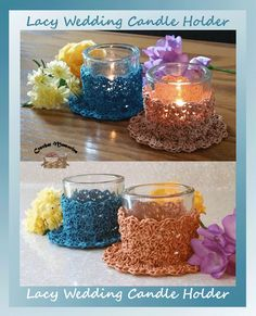 Lacy and romantic, these candle covers will work up quickly because they're worked in size 3 thread.  An easy stitch combination that's fun to work and easy on the eye.  Perfect for spring, Easter, Mother's day, or a wedding.