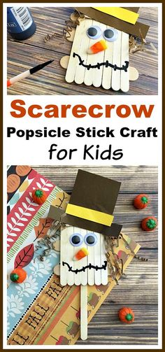 Scarecrow Popsicle Stick Craft for Kids Fall Kids Craft is part of DIY Kids Crafts Fall - This scarecrow popsicle stick craft is a fun and inexpensive kids craft that's perfect for fall! It would also tie in well with reading the Wizard of Oz! Fall Arts And Crafts, Autumn Crafts, Fall Crafts For Kids, Thanksgiving Crafts, Holiday Crafts, Kids Diy, Winter Craft, Popsicle Stick Crafts For Kids, Craft Stick Crafts