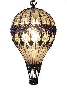 design steampunk Lamp light bulbs hot air balloon upcycled steam ...
