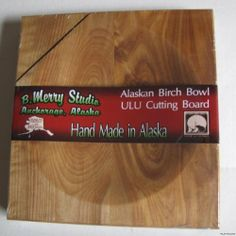 """Made in Alaska Ulu Birch Wood Chopping Bowl-Board by B merry Studios. $21.99. ? Hand Made Birch wood ulu Chopping bowl ?Measures 8"""" x 9"""" X 1"""" thick Flat on one side and the bowl on the other either side useable ? Handcrafted ? This is a genuine """"Made in Alaska"""" Product by Alaskan Artist of 30 Years B. Merry Studios ? High quality Handcrafted Unique Item no 2 are exactly the same Shown will be VERY simlar as wood has it's own pattern. Save 12%!"""