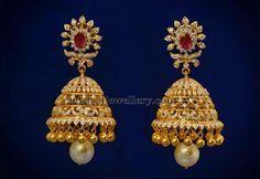 Regal Diamond Jhumkas with Ruby