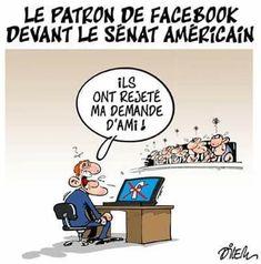 Dilem (2018-04-13) Facebook: Mark Zuckerberg devant le Congrès américain