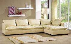 Cream leather sofas – the best choice for every space in 2018 Comfy Sofa, Comfortable Sofa, Leather Furniture, Sofa Furniture, Furniture Sets, Cream Leather Sectional, Leather Sofas, Living Room Designs, Living Room Decor