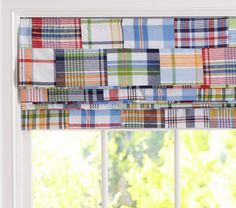 Madras Roman Shade | Pottery Barn Kids - to match the Madras baby bedding (have blackout lining and are cordless)