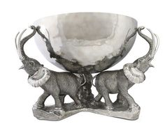 Pewter Elephant Trio Ice / Punch Tub Stainless