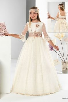 Acantha Little Girl Outfits, Kids Outfits Girls, Little Girl Fashion, Kids Fashion, Girls Dresses, Flower Girl Dresses, Dinner Gowns, First Communion Dresses, Fancy Dress Outfits