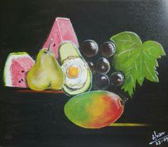 Huevo-aguacate junto a las frutas - acrílico sobre lienzo (Barcelona - España) galeria-scorcimagen.es