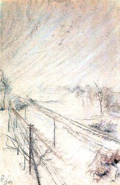 """huariqueje: """" View from the Studio , Winter - Stanislaw Wyspianski 1905 Polish 1869-1907 Impressionism """""""