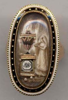 Lovely Georgian era memorial ring with lady at tomb