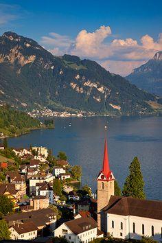 Parish Church and resort town of Weggis overlooking Lake Lucerne, Switzerland