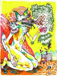 Inechi is a illustrator from South America who is influenced by the mexican colourful vibes. Plenty of her work is vibrant and wildly colourful, its stylistically washy and loose at times but is held together with heavy intricate line work. She plays around a lot with psychedelic subject matters and has developed a series of weird and wonderful characters. Lots of her illustrations are presented through vines and merchandise.    15/4/2014