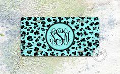 Monogram License plate - Soft blue Cheetah pattern monogram , custom car tags , personalized front plate