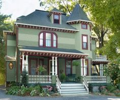 Get great exterior house paint colors. We've got exterior house paint color ideas that you can duplicate for your own home.: Victorian Exterior Colors: Not for Every House Exterior Paint Color Combinations, House Exterior Color Schemes, House Paint Color Combination, Exterior Paint Colors For House, Paint Colors For Home, Exterior Colors, Exterior Design, Paint Colours, Colour Combinations