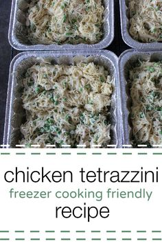 Looking for an easy freezer cooking recipe? This chicken tetrazzini recipe is easy to make and is a crowd pleaser! (Chicken Meals For A Crowd) Chicken Tetrazzini Casserole, Chicken Tetrazzini Recipes, Chicken Recipes, Recipe Chicken, Freezer Chicken, Chicken Tetrazinni, Chicken Meals, Make Ahead Freezer Meals, Freezer Cooking