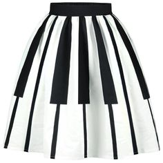 Striped High Waist Two Tone Skirt (72 RON) ❤ liked on Polyvore featuring skirts, white striped skirt, striped skirt, high rise skirts, high-waisted skirt and high waisted knee length skirt
