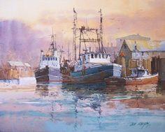 "Ian Ramsay Watercolors Large Boat Dock, Alaska 8"" x 10"" image watercolor"