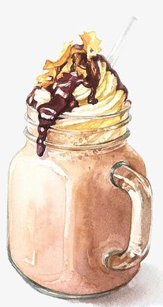 Drawing ice coffee PNG and Clipart Coffee Drawing, Coffee Art, Iced Coffee, Dessert Illustration, Watercolor Illustration, Food Art Painting, Coffee Painting, Food Png, Watercolor Food