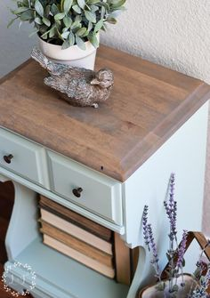 Inglenook Painted Nightstand - Inglenook is a beautiful, fresh, soft blue that can look a little minty depending upon the lighting.
