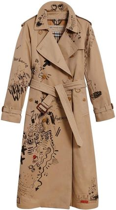 Shop now Burberry sketch print trench coat for at Farfetch UK. Brown Trench Coat, Beige Coat, Brown Beige, Denim Trench Coat, Mode Outfits, Fashion Outfits, Punk Fashion, Icon Fashion, Lolita Fashion