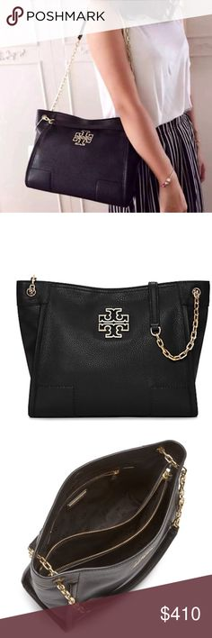 "Tory Burch Britten Small Slouchy Tote Made of soft pebbled leather with chain-adorned straps. The roomy interior has multiple pockets, including a convenient center zip compartment that can fit a phone and a wallet. A great style for work or weekend. •Pebbled leather•Magnetic snap closure•Flat leather-and-chain double straps with 8.76"" (22 cm) drop when doubled•1 interior center zipper compartment, 1 zipper pocket at back wall 9.56""•11.75""•4.78"" •New with tags in original manufactures…"