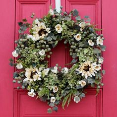 Wreaths For Front Door, Door Wreaths, Greenery Wreath, Floral Wreath, Green Hydrangea, Fall Wreaths, Summer Wreath, Decoration, Decorative Throw Pillows