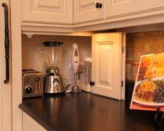 Kitchen Storage Ideas for small appliances. See more: http://homechanneltv.blogspot.com/2014/04/clever-kitchen-storage-ideas.html