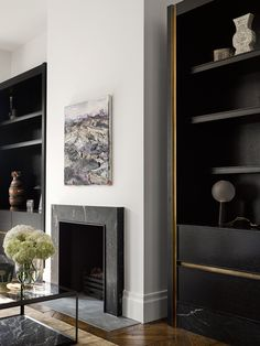 10 Amazing and Unique Tricks Can Change Your Life: Fireplace Screen Apartment Therapy fireplace shelves mantle.Fireplace Shelves Mantle fireplace shelves one side.Limestone Fireplace With Shiplap. Home Fireplace, Fireplace Surrounds, Fireplace Design, Fireplace Modern, Small Fireplace, Fireplace Ideas, Marble Fireplace Surround, Craftsman Fireplace, Fireplace Outdoor