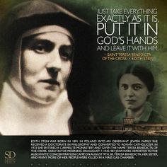 www.Schmalen.com St. Teresa Benedicta of the Cross, pray for us! / Edith Stein St Edith Stein, St Ignatius Of Loyola, St John Vianney, St John Bosco, St Catherine Of Siena, Saint Thomas Aquinas, St John Paul Ii, St Therese Of Lisieux, Easter 2018