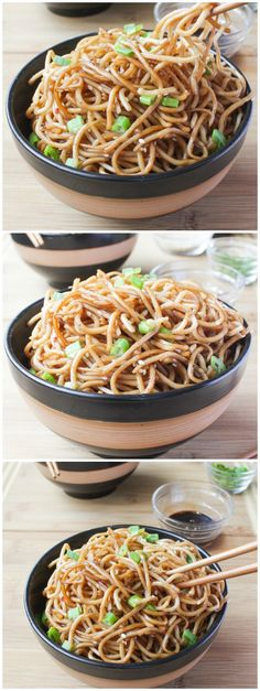 Lightly sautéed sesame noodles tossed in a honey ginger sauce that makes a quick and easy take-out style dinner in 20 minutes. #meatless #vegetarian