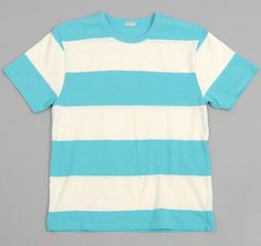WIDE BORDER STRIPE T-SHIRT, SKY BLUE / WHITE :: HICKOREE'S