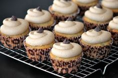 Baked Perfection: Banana Chocolate Chip Cupcakes with Peanut Butter Frosting  Make these with the Jameson bananas!!