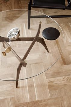 danish modern glass top table