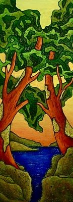 """Chrissandra's Art: """"We've Got the Whole World in Our Hands"""" Arbutus Tree, Tree Quilt, Landscape Quilts, Big Canvas, Water Colors, The Creator, Art Ideas, Landscapes, Salt"""