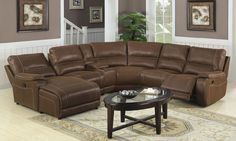 Large Leather Sectional Sofa with Chaise