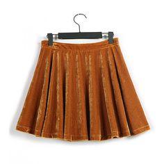 Yellow Pleated Velvet Skirt: So desirable !