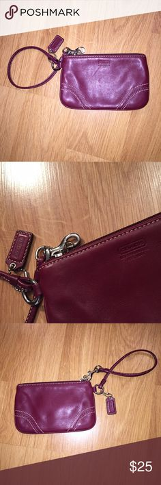 Coach Wine Colored Leather Wristlet Soft leather wine colored wristlet. 100% authentic. In excellent condition. Only used a few times. Silver hardware. Comes with Coach hang tag. Coach Bags Clutches & Wristlets